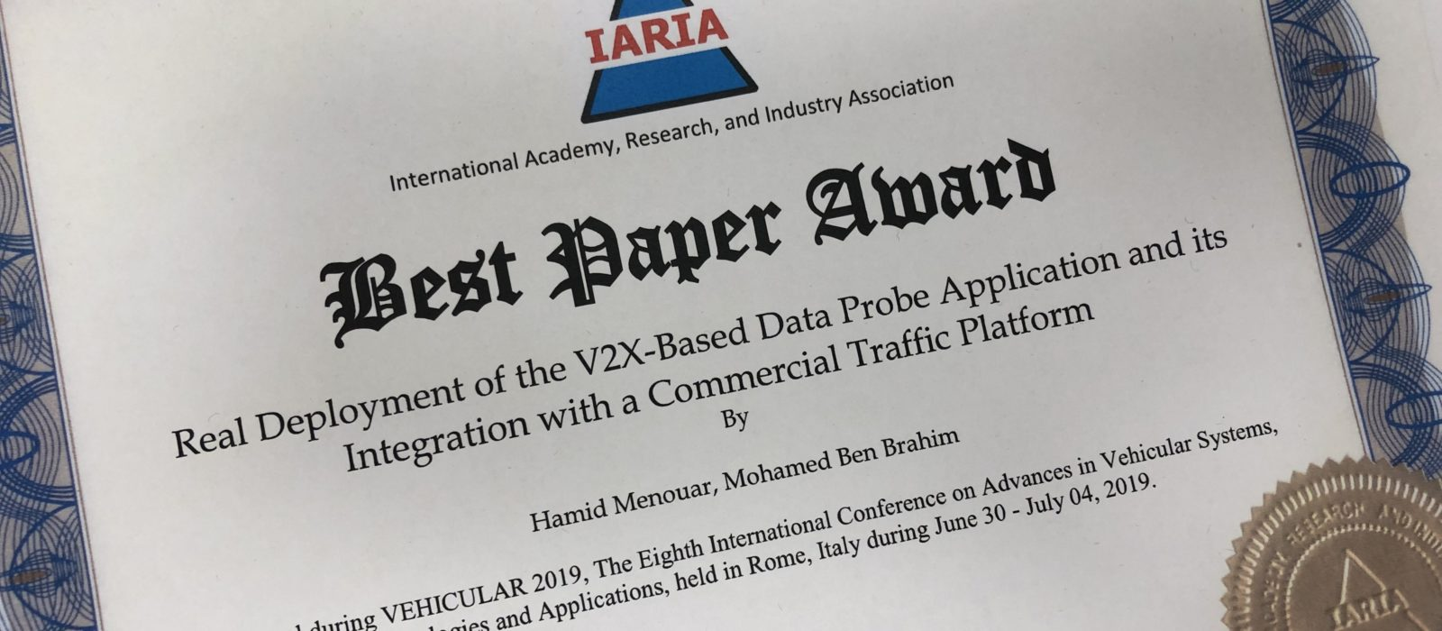 Received the best paper award at VEHICULAR'2019